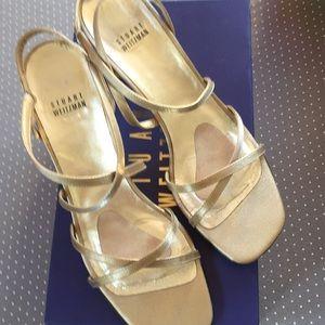 Stuart Weitzman Gold Brace Sandals